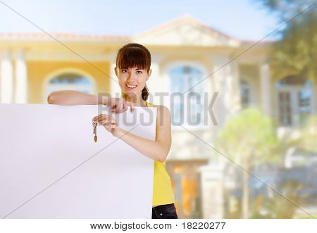 Woman and blank