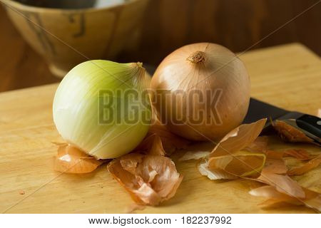 poster of Fresh Onions. Onions Background. Ripe Onions.ripe Onion On Wooden Background. Selective Focus