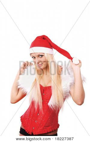 portrait of beautiful blonde girl in xmas clothes on white