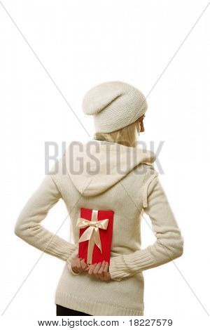 young blond girl with red present close up shoot