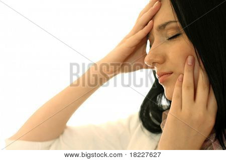 Young business woman with headache isolated on white background