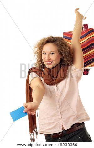Retrato de uma mulher jovem e atraente com sorridente isolado no fundo branco
