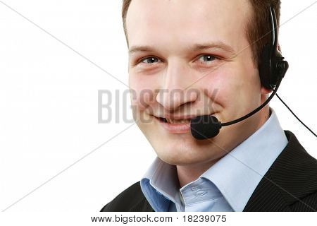 Closeup portrait of a man with a headset
