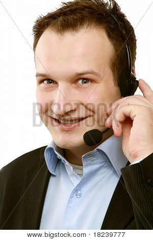 Closeup portrait of a man with headset