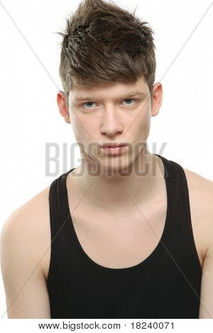 A young handsome male model wearing a black shirt