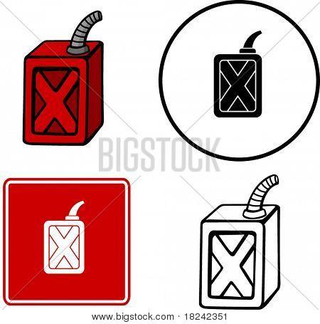 símbolo y signo de ilustración de botella de gas