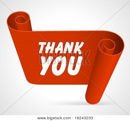 Abstract speech bubble from scroll paper with thank you message vector background. Eps 10.
