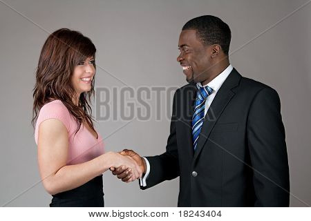 Business Man And Young Woman Shaking Hands