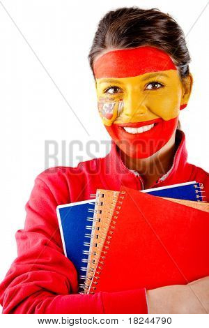 Spanish student with the flag painted on her face