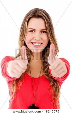 Woman with thumbs up - isolated over a white background