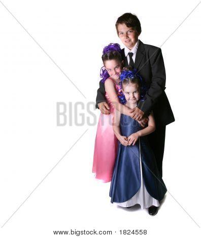 Three Children Dressed To Impress