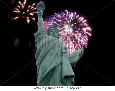 Liberty And Fireworks