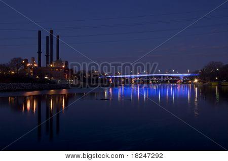 35W Bridge Illuminated In Blue