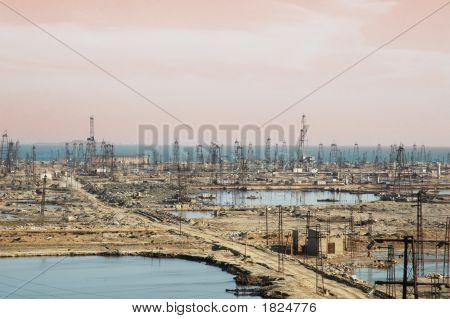 Many Oil Derricks On The Shore Near Baku, Azerbaijan