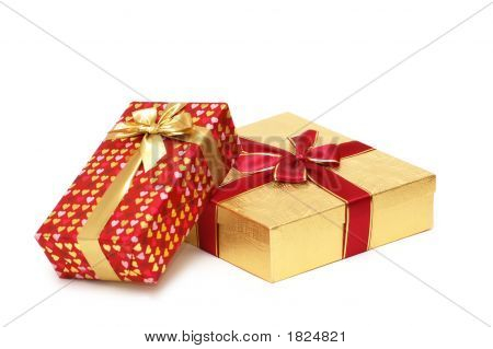 Two Gift Boxes Isolated On White Background