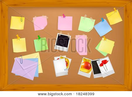 Cork notice board with office supplies. Vector.