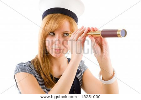 Young Marine Woman Search With Spyglass