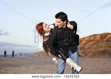 Young couple having a good time together (selective focus with shallow DOF)