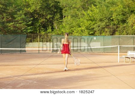 Blond Girl On The Court