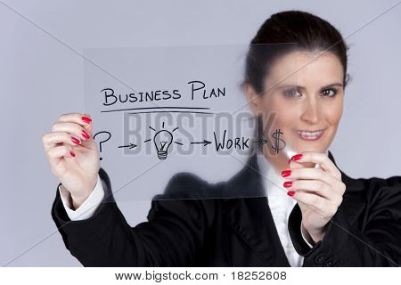Businesswoman with a strategy plan to be successful in her business (selective focus)