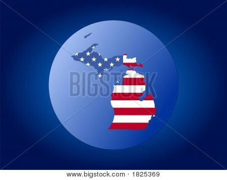 Michigan Flag Globe
