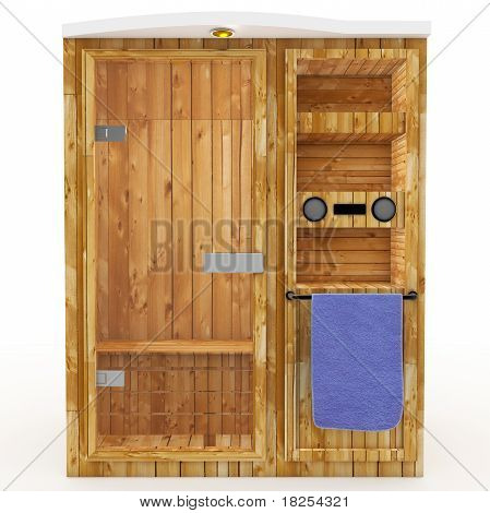 3D Sauna Cabin With Blue Towel