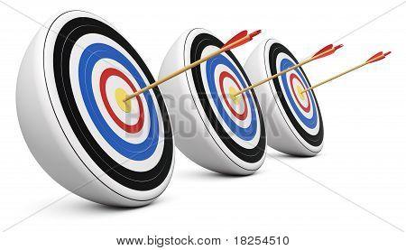 Three Targets Hit With Bull's-eye Shot