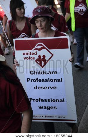Brisbane, Australia - May 2 : Labour Day Street March Protesting Childcare Workers Rigths  May 2, 20