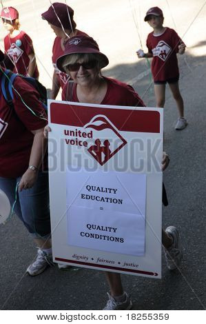 Brisbane, Australia - May 2 : Labour Day Street March Protesting Education Workers Rigths  May 2, 20
