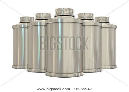 Silver spray cans in group