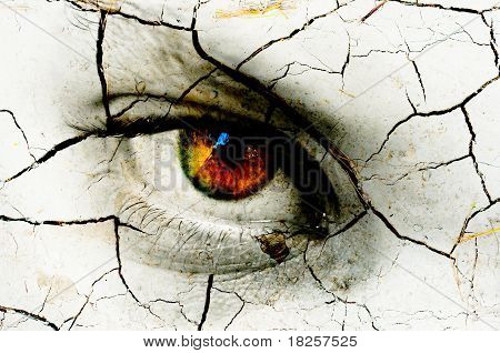 Dark Art Texture Of A Woman's Eye With Cracks