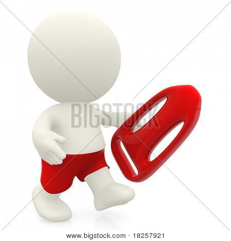 3D male lifeguard - isolated over a white background