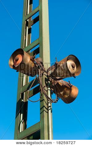 Rusty Old, But Working Speakers At A Hungarian Train Station