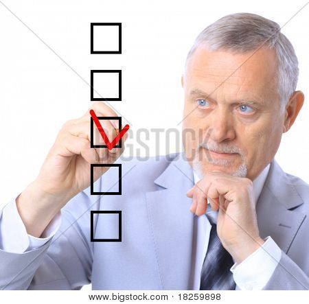 man choosing one of five options