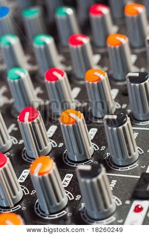 Texture Of An Audio Mixer With Buttons