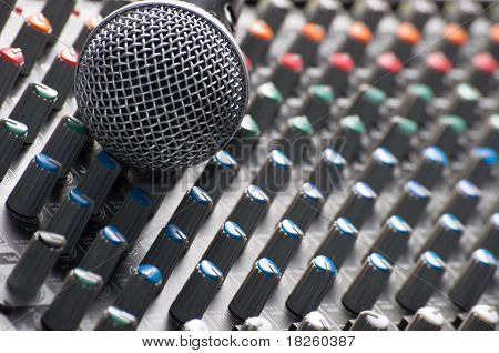 Texture Of A Sound Mixer With Microphone