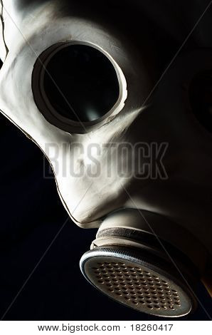 Closeup Of A Dark Gasmask With Blurs