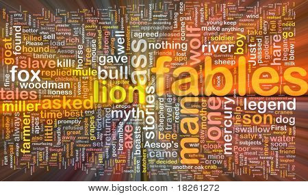 Background concept wordcloud illustration of fables glowing light