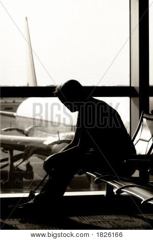 Waiting In Airport (Bw Silhouette)
