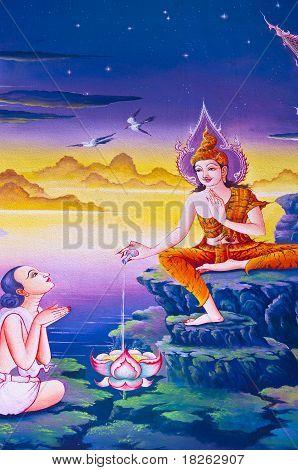 traditionelle thailändische Kunst mit Geschichten über die Buddha...