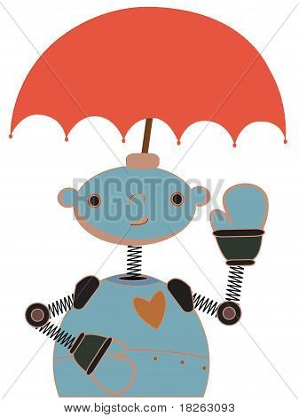 Cute Robot with Umbrella attached to head waving.eps