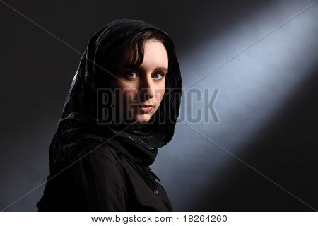 Young Muslim Woman In Hijab Has Quiet Moment