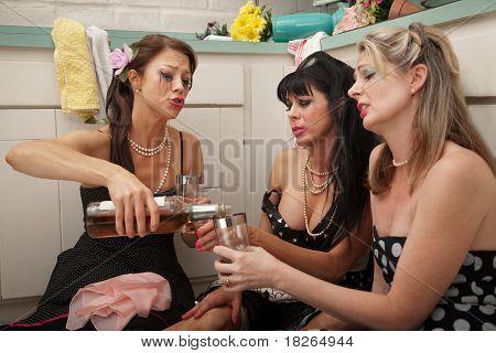 Depressed Woman Drinking