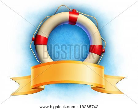 Lifesaver and an elegant ribbon banner. Digital illustration, included clipping path allows to separate lifesaver and banner from background.