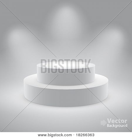 3d isolated Empty white podium on gray background. Vector illustration.