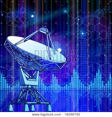 satellite dishes antenna - doppler radar, blue planet & electromagnetic waves - technology background
