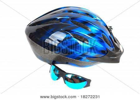Blue Helmet On The White.