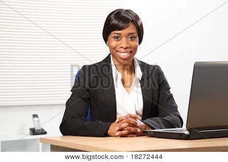 Beautiful Happy Black Business Woman In Office