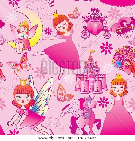 Seamless princess pattern.