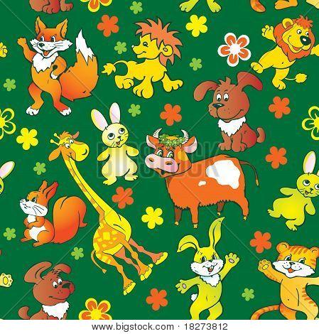 Seamless animals pattern.